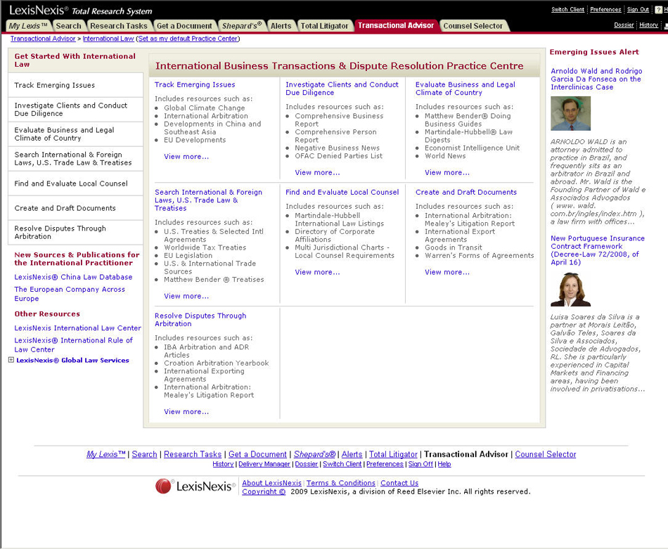 Screenshot for LexisNexis® International Practice Center