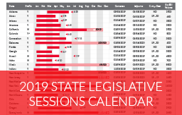 Order your 2019 State Legislative Sessions Calendar