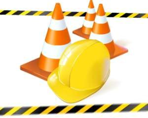Construction Hard Hat And Cones