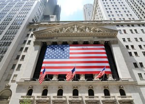 New York Stock Exchange building draped in US flag