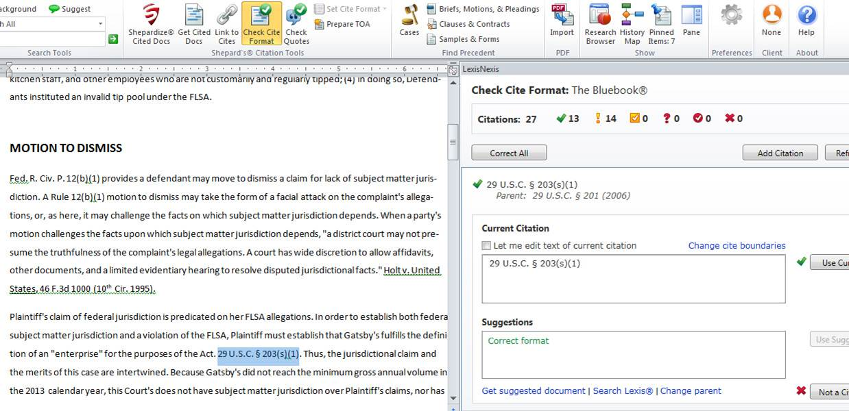 Lexis For Microsoft Office Using Check Cite Format LexTalk