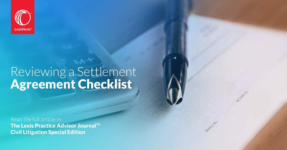 Reviewing A Settlement Agreement Checklist Federal