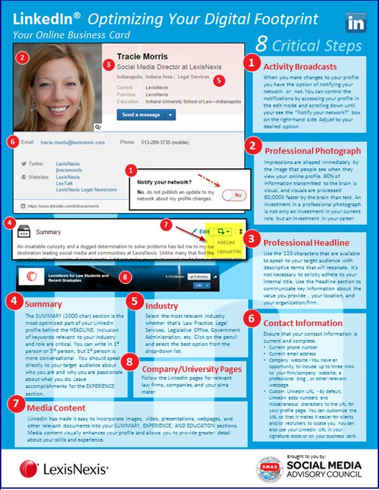 8 steps to optimize your LinkedIn profile Infographic
