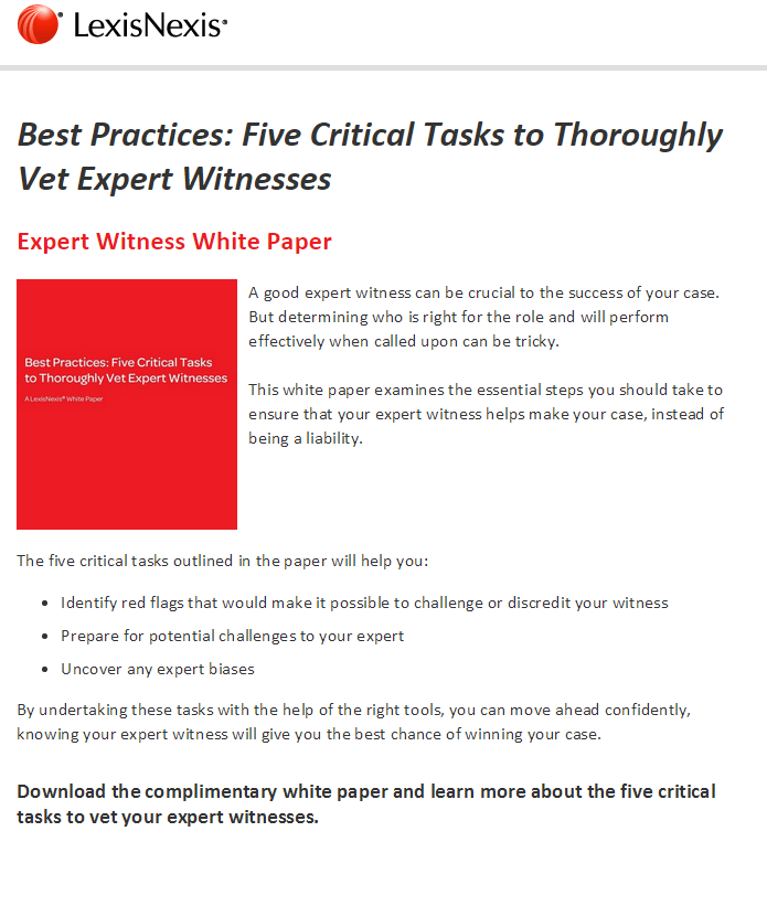 Best Practices: Five Critical Tasks to Thoroughly Vet Expert Witnesses