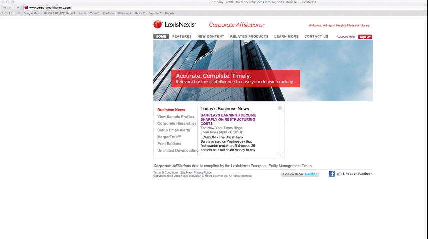Find Company Contact Information LexisNexis Corporate Affiliations – Samples of Business Profiles