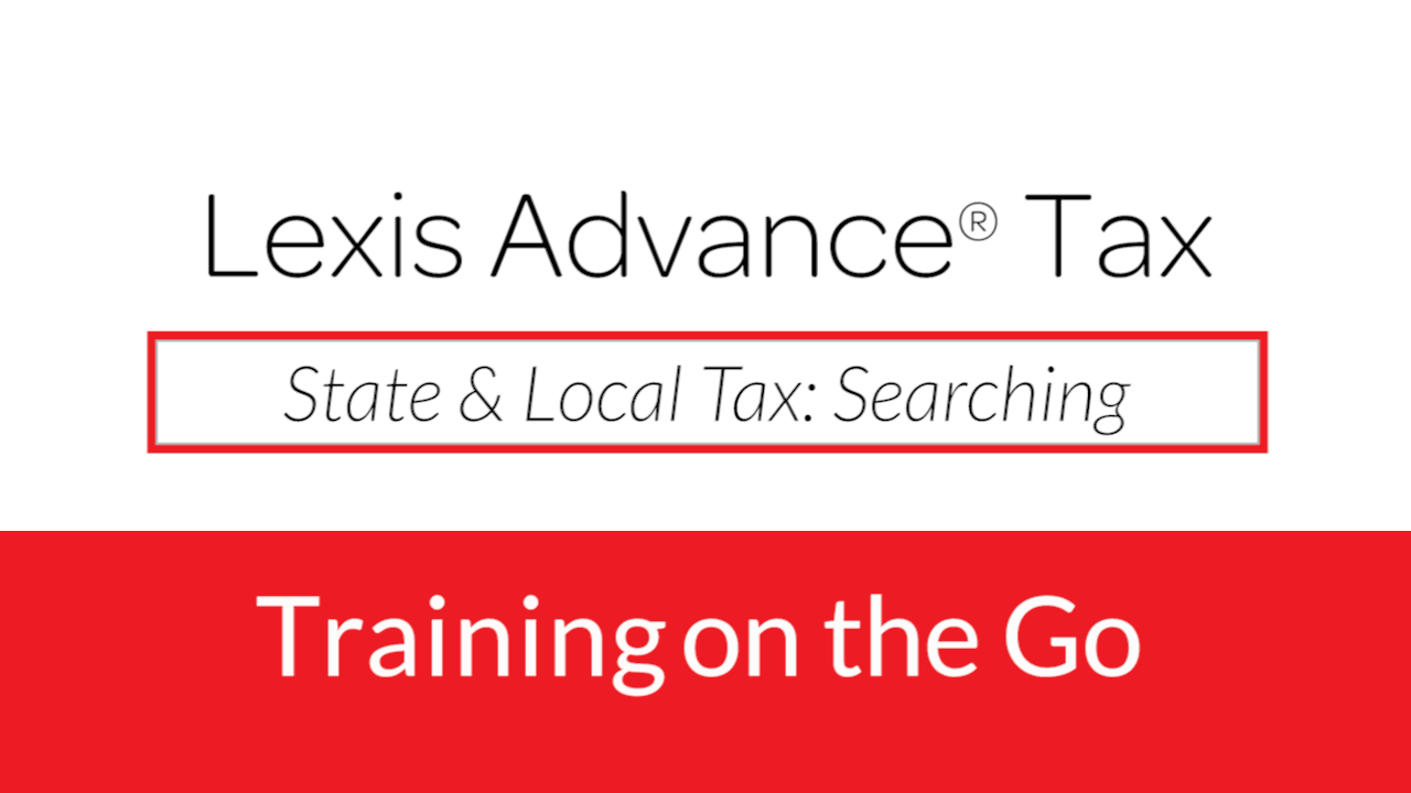 State & Local Tax: Searching