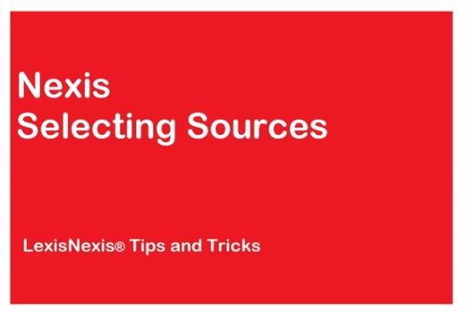 Selecting Sources in Nexis<sup>&amp;reg;</sup>