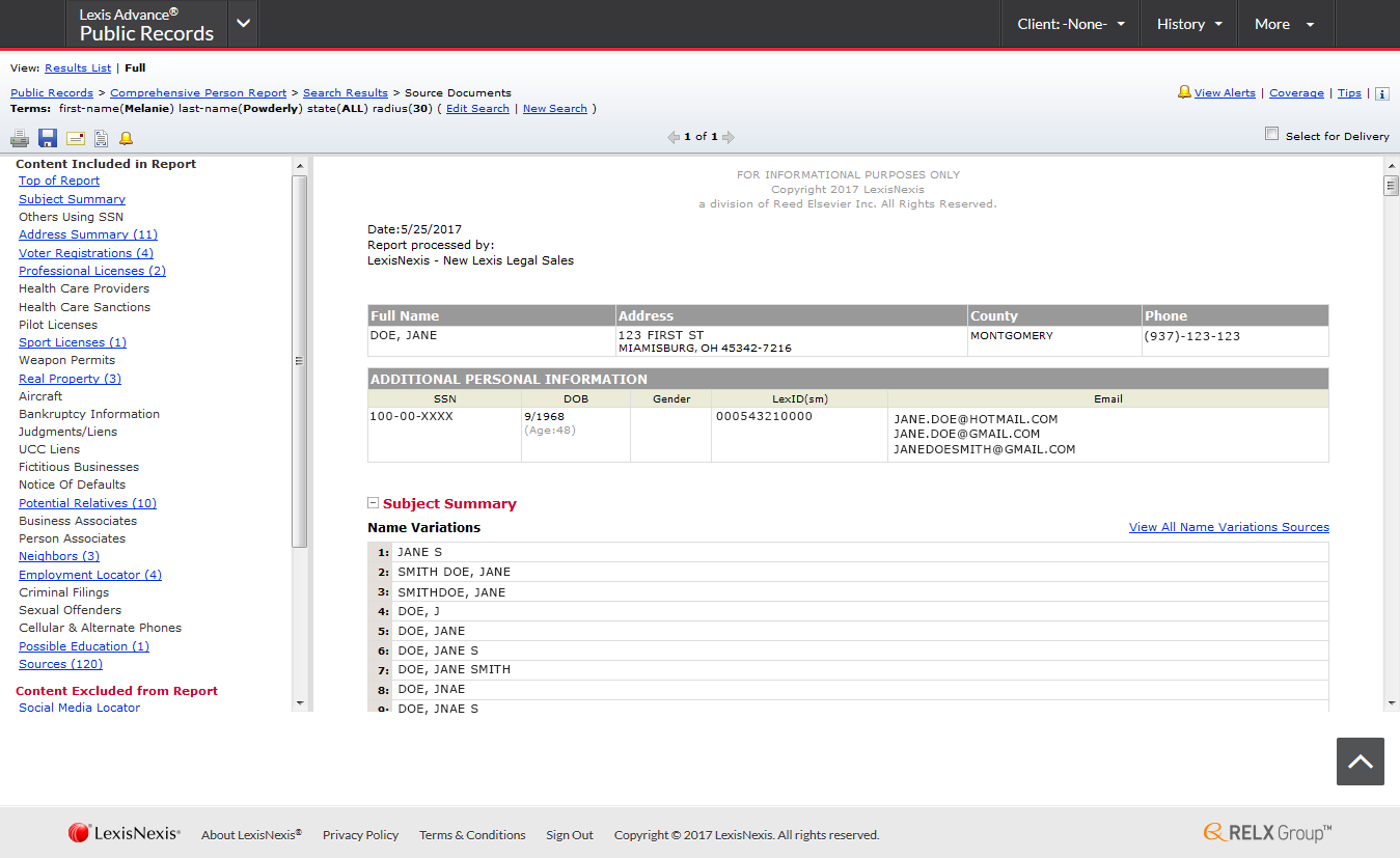 Lexisnexis report request