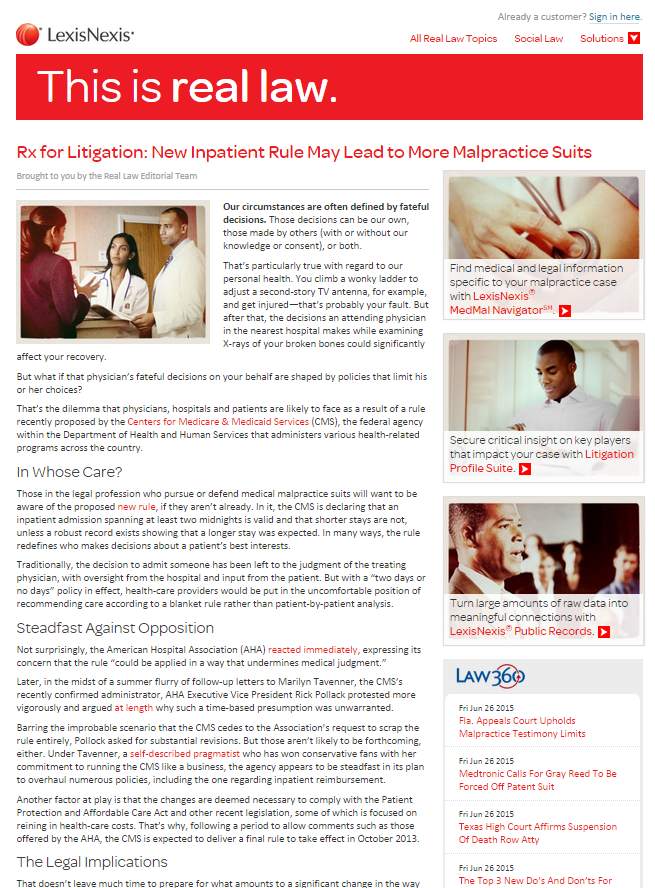 Rx for Litigation: New Inpatient Rule May Lead to More Malpractice Suits