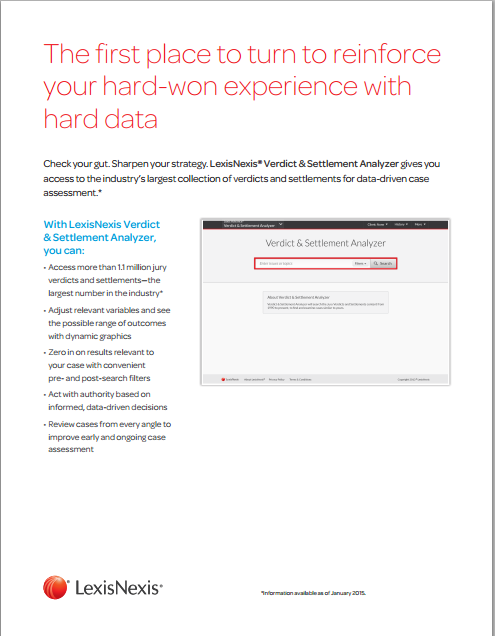 LexisNexis® Verdict & Settlement Analyzer Overview