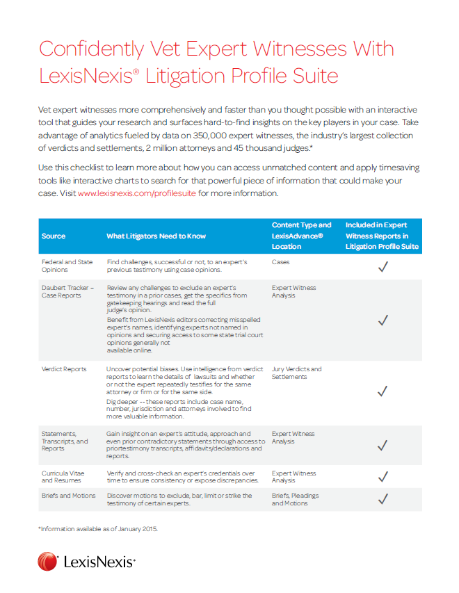 LexisNexis® Expert Witness Research via Lexis Advance®